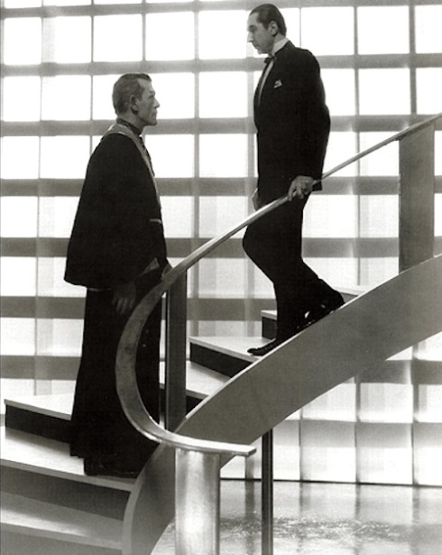 Boris and Bela on the staircase