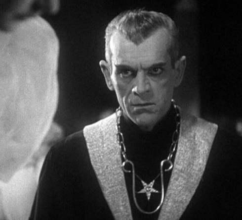 High Priest Mass Karloff close up