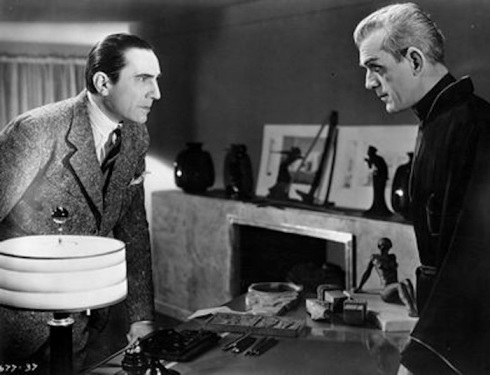 karloff and lugosi at the desk