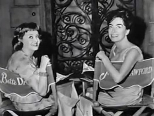 Davis and Crawford on the set of Baby Jane in directors chairs