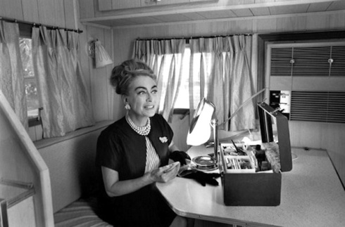 Joan in her trailer set of Hush