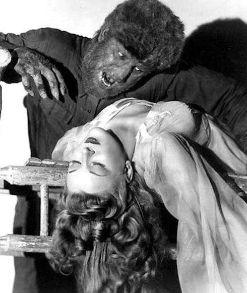 Evelyn Ankers and Lon Chaney wolf man promo