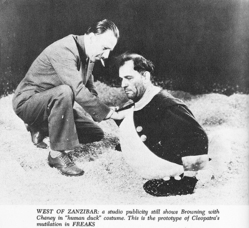 browning and chaney in human duck costume