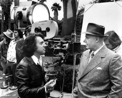 Director Hiller with Rod Steiger on the set of WC Field and Me