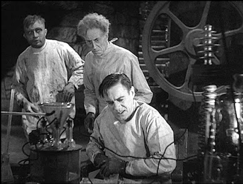 James Whale and his crew film Ernest Thesiger and Dwight Frye amidst Kenneth Strickfaden's electrical equipment in The Bride of Frankenstein.©1935 Universal Pictures.