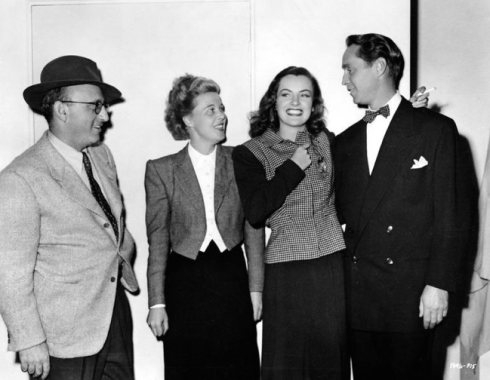 Director Robert Siodmak, Joan Harrison, Ella Raines and Franchot Tone on the set of Phantom Lady