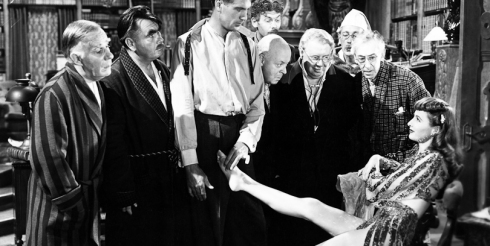Ball of Fire (1941) Directed by Howard Hawks Shown: Henry Travers, Oscar Homolka, Gary Cooper, Leonid Kinskey, Aubrey Mather, S.Z. Sakall, Richard Haydn, Tully Marshall, Barbara Stanwyck