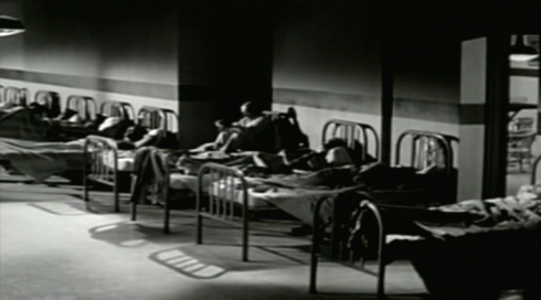 Noir shot of asylum beds