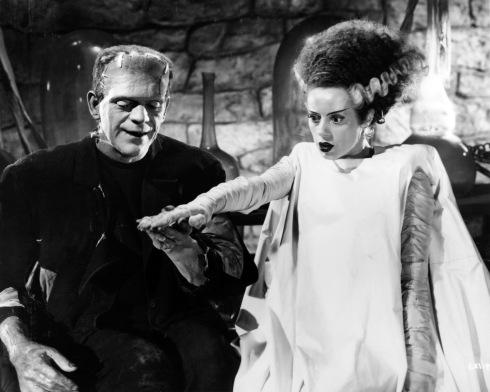 "The Academy of Motion Picture Arts and Sciences will host a month-long series of screenings of classic horror films with ""Universal's Legacy of Horror"" in October. The series is part of the studio's year-long 100th anniversary celebration engaging Universal's fans and all movie lovers in the art of moviemaking. Pictured: Boris Karloff and Elsa Lanchester in BRIDE OF FRANKENSTEIN, 1935."