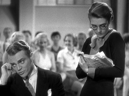 James Cagney...while Ruby Keeler takes notes. Image:
