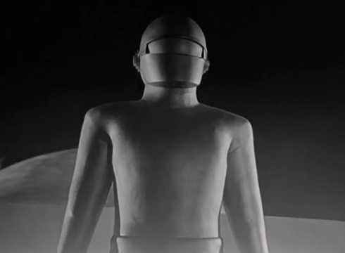 day the earth stood still GORT stands before patricia neal viser closed