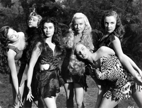 Prehistoric Women (1950) Directed by Gregg C. Tallas Shown from left: Jo Carroll Dennison, Joan Shawlee, Laurette Luez, Kerry Vaughn, Mara Lynn (bending over), Judy Landon