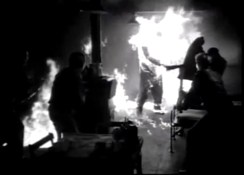 The Thing From Another World -first pyrotecnics body fire suit on film The Thing